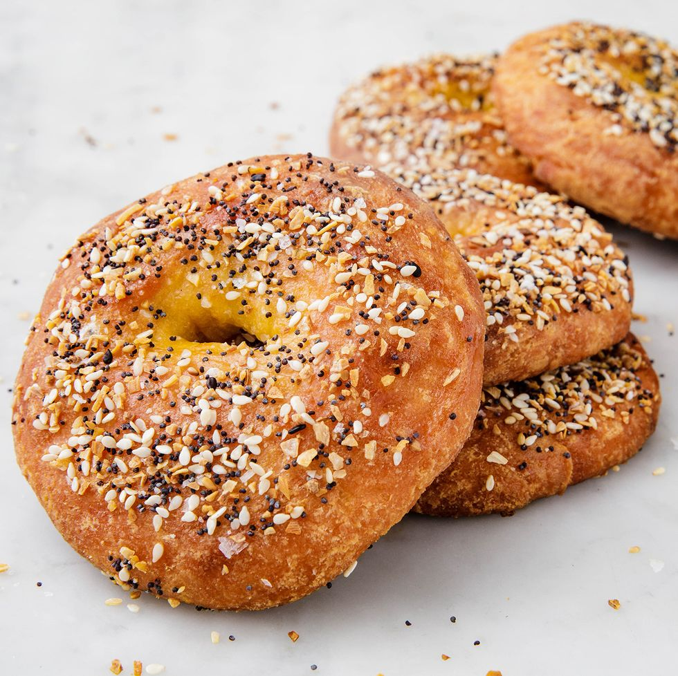 Everything keto bagels on a white background.