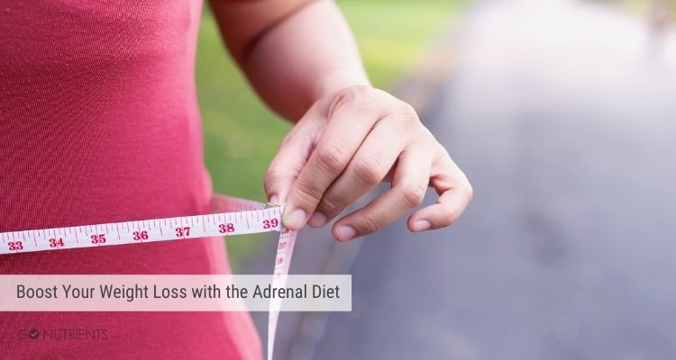 Boost Your Weight Loss with the Adrenal Diet - Image of a woman measuring her waist and showing a loss inches.